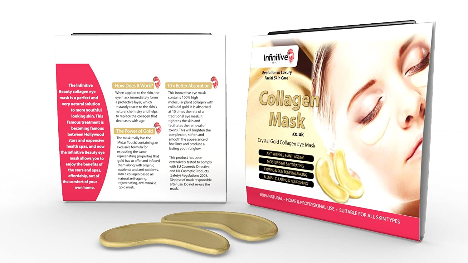 10 x Pack New Crystal 24K Gold Powder Gel Collagen Eye Mask Masks Sheet Patch, Anti Ageing Aging, Remove Bags, Dark Circles & Puffiness, Skincare, Anti Wrinkle, Moisturising, Moisture, Hydrating, Uplifting, Whitening, Remove Blemishes & Blackheads