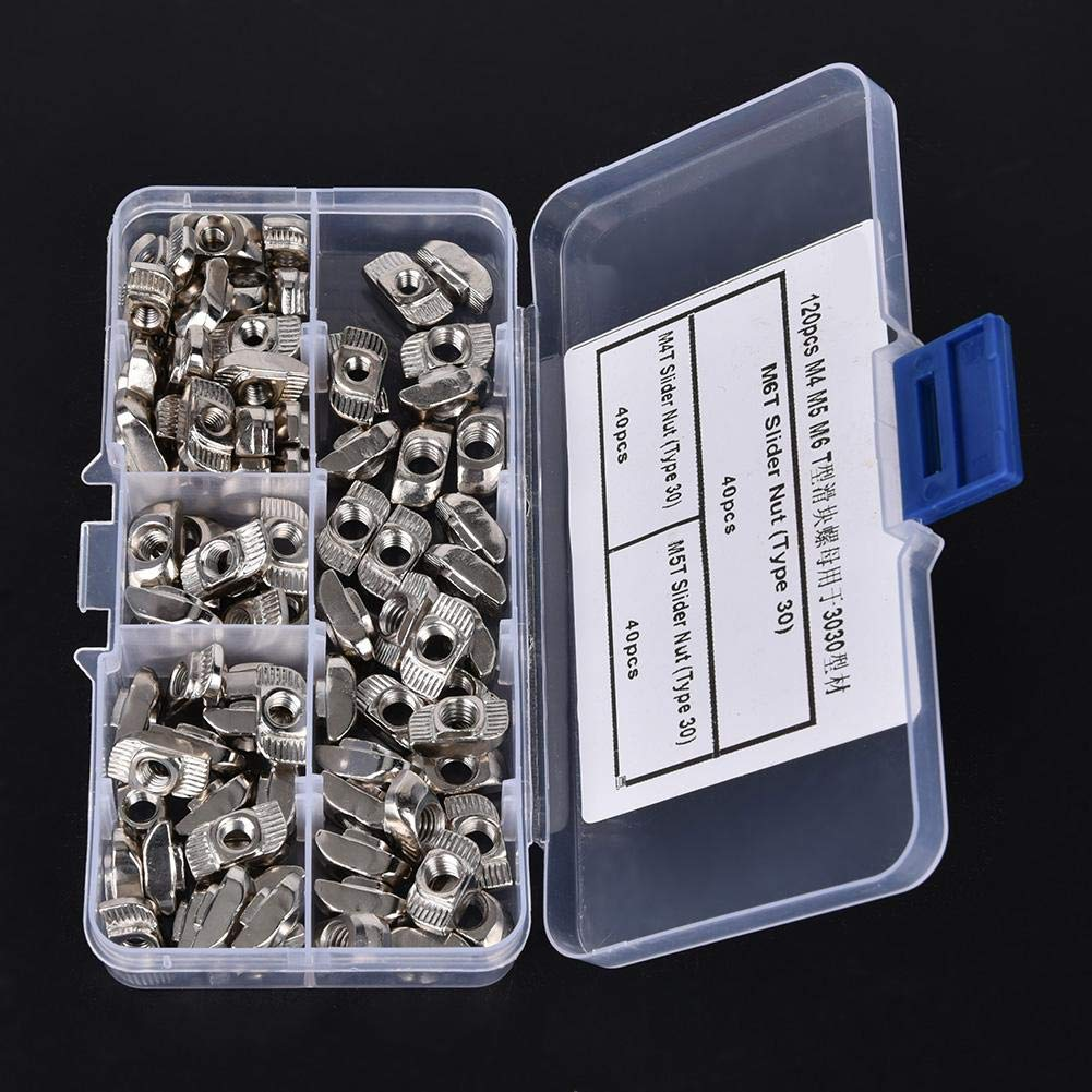 T Slot Sliding Nut,120pcs T Slot Sliding Nut M4 M5 M6 Hardware Fasteners for 3030 Aluminum Profiles