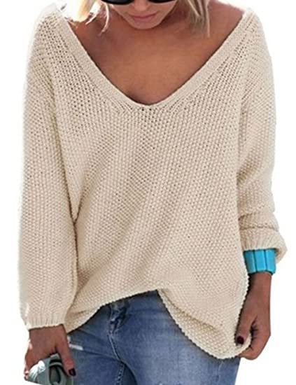 20fe141f87afe0 EMMA Women s Oversize Sexy Casual V Neck Pullover Loose Baggy Off Shoulder  Long Sleeve Thick Knit
