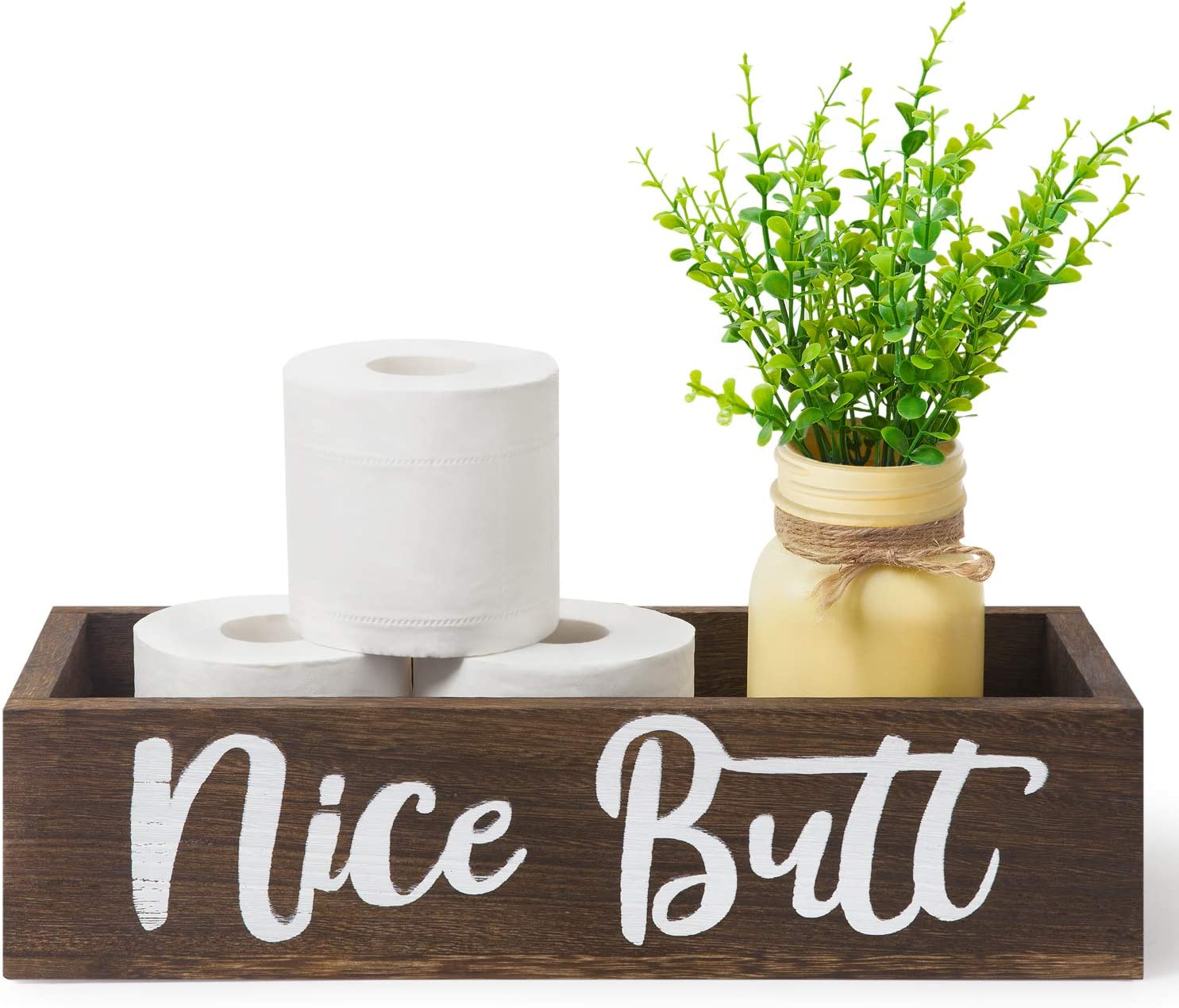 Dahey Nice Butt Bathroom Decor Box, Toilet Paper Holder, Farmhouse Rustic Wood Box Funny Home Decor for Bathroom Kitchen (Mason Jar and Artificial Flower Included), Brown