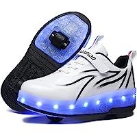 Unisex barn LED USB laddningsbar färgglad belysning gympaskor rullskridskor skor med dubbla hjul indragbara lätta…