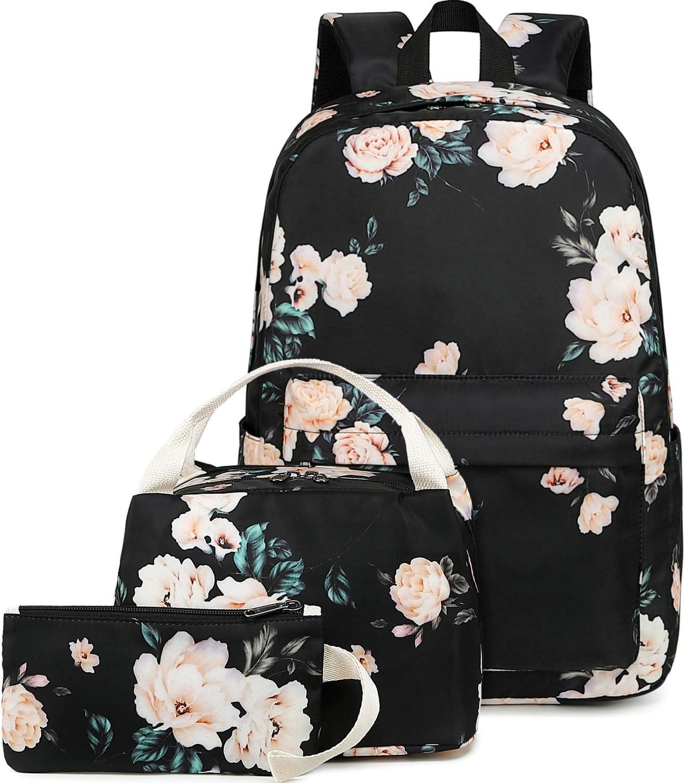 BLUBOON School Backpack Set Teen Girls Bookbags 15 inches Laptop Backpack Kids Lunch Tote Bag Clutch Purse (E0066 Black)