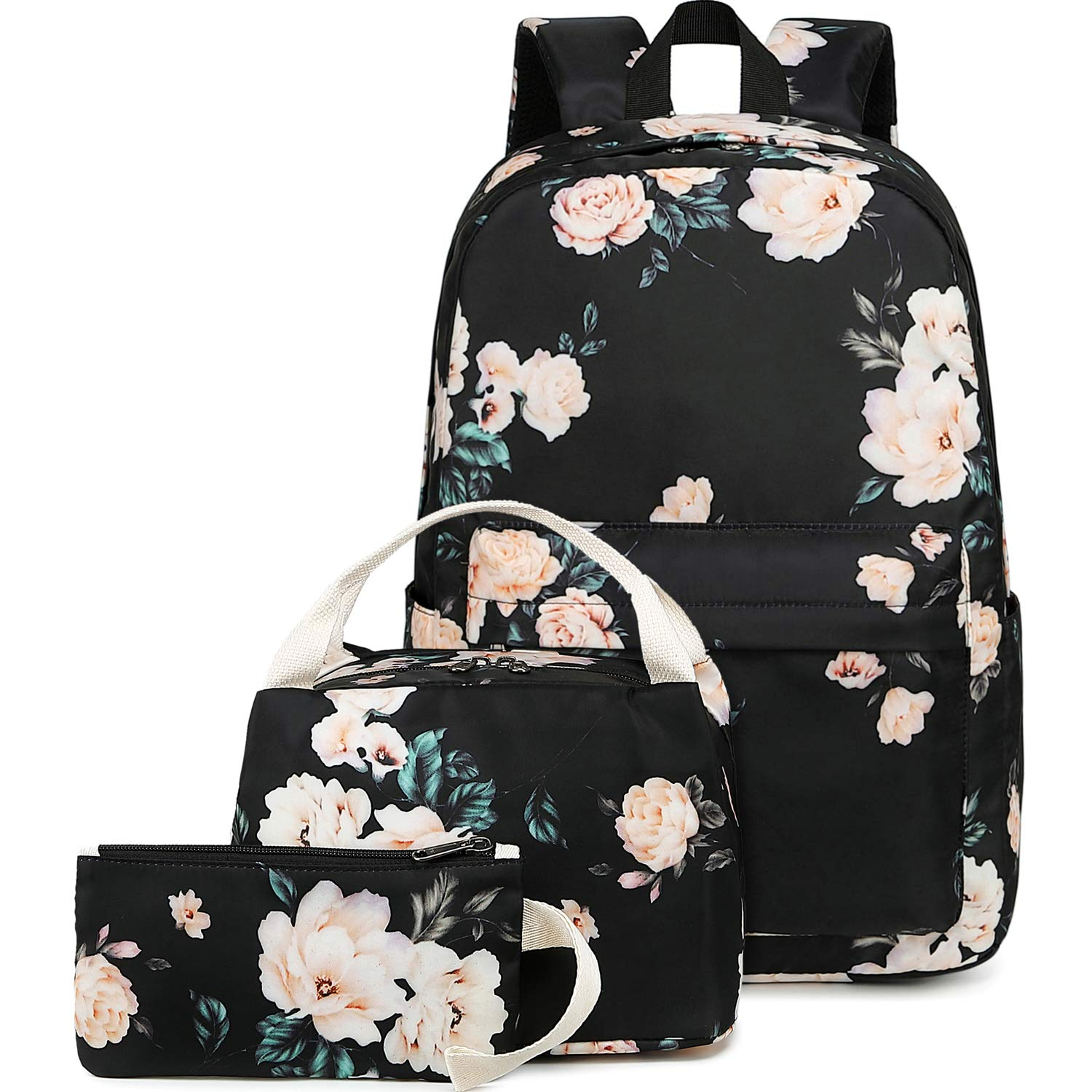 BLUBOON School Backpack Set Teen Girls Bookbags 15 inches Laptop Backpack Kids Lunch Tote Bag Clutch Purse (E0066 Black) by BLUBOON