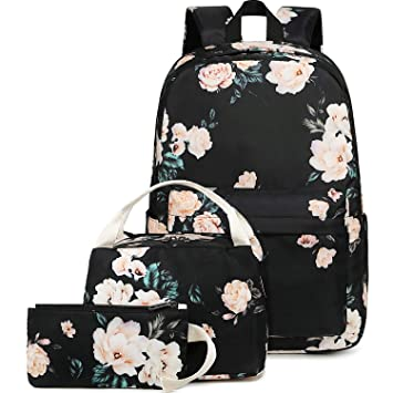 f3cdbfc97974 BLUBOON School Backpack Set Teen Girls Bookbags 15 inches Laptop Backpack  Kids Lunch Tote Bag Clutch Purse (E0066 Black)