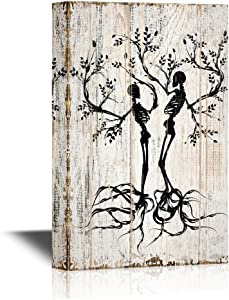 wall26 Abstract Tree Canvas Wall Art - Two Trees with Branches and Roots in The Shape of Human Skeleton - Gallery Wrap Modern Home Art | Ready to Hang - 16x24 inches