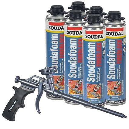 Soudal Pro brecha y bloque fireblock espuma 6 – 24 oz latas + teflón profesional pistola