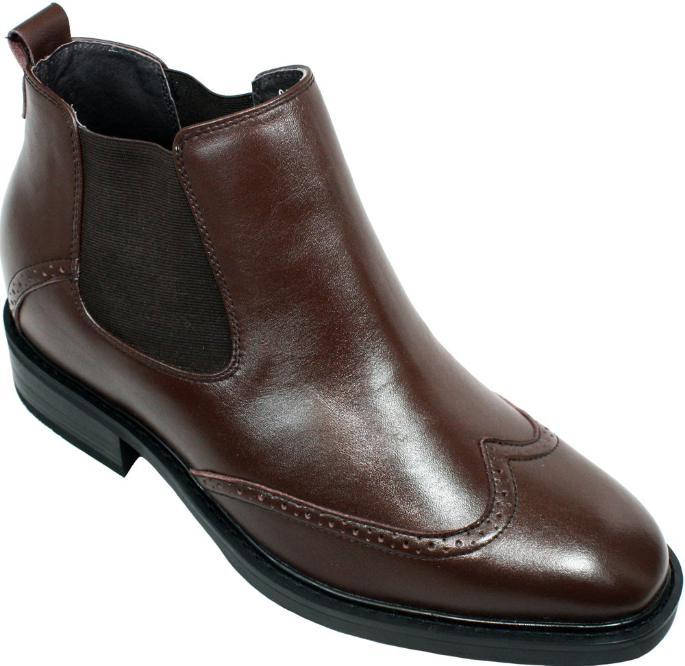 CALDEN K288021-3 inches Taller - height Increasing Elevator Shoes-Brown Wing-Tip Ankle Boots (10 D(M) US) by CALDEN