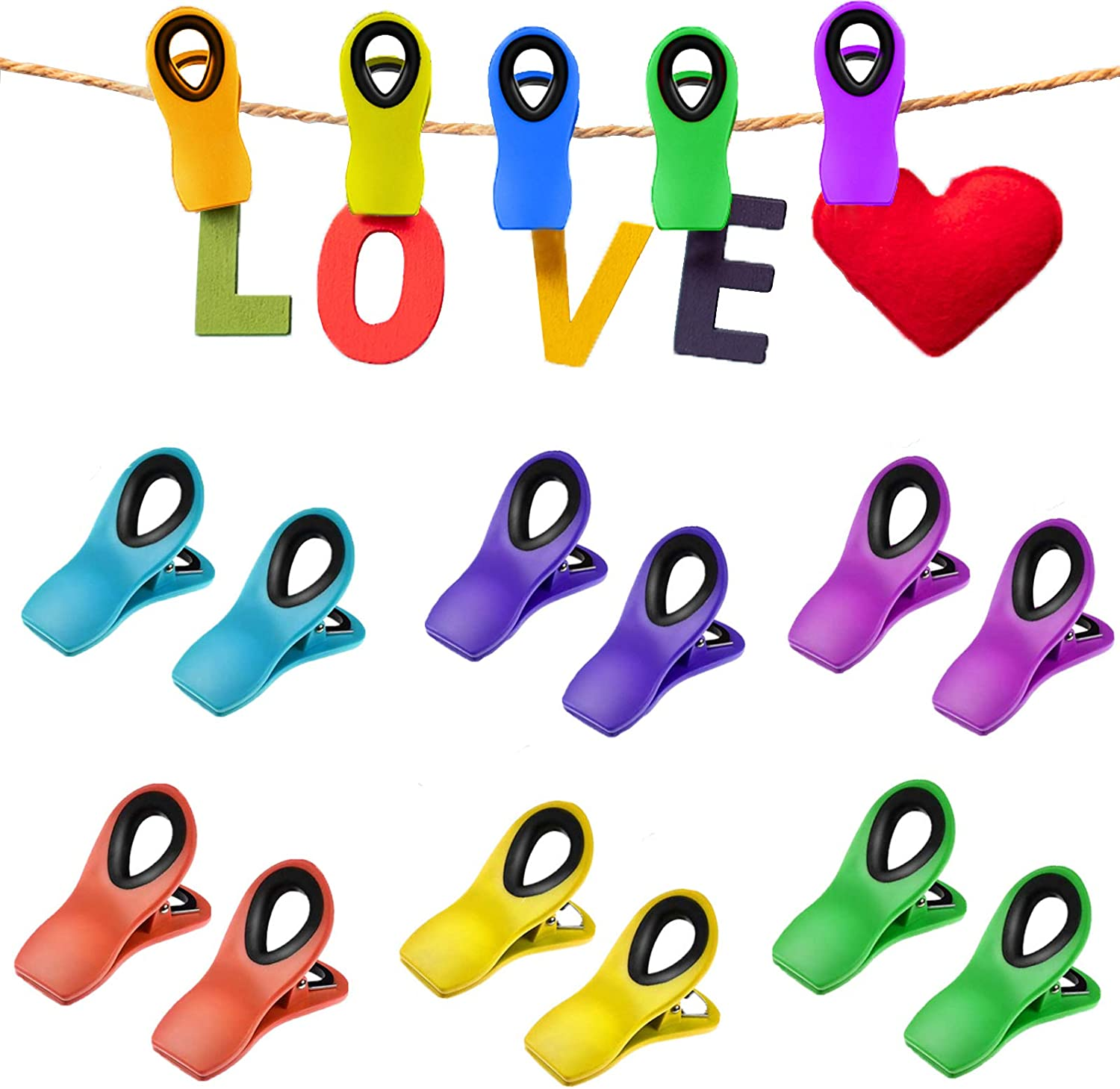 12 PCS Magnetic Clips, Chip Clips Bag Clips Food Clips, Chip Clips Magnetic, Cook with Color Chip Clips, Multicolored Chip Clips for Food Storage Home Kitchen Office School Supplies