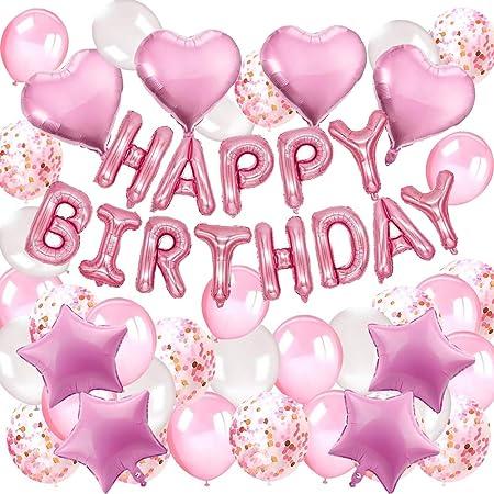 Decoraciones Feliz Cumpleaños Nina, DAYPICKER decoracion de fiesta rosa con Feliz Cumpleaños globos, 30 Globos Rosa Fucsia Blanco,10 Globus de ...