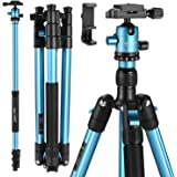 "MACTREM Professional Camera Tripod with Phone Mount, 62"" DSLR Tripod for Travel, Super Lightweight and Reliable Stability, Ba"