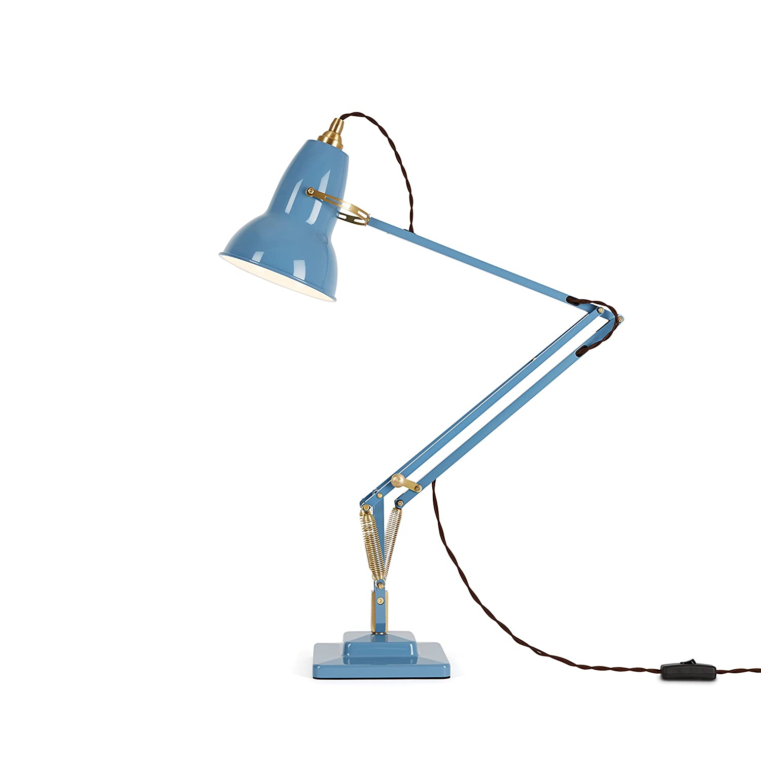 Anglepoise Original 1227 Brass Desk Lamp Dusty Blue