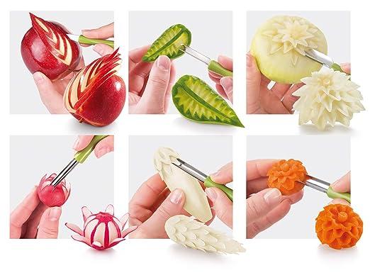 Tescoma Presto Carving Gemüsedekoschneider-Acero Inoxidable, Verde/ - Naranja