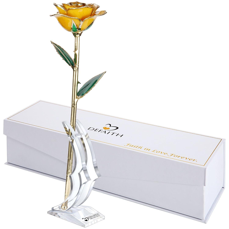 ゴールドローズ、DeFaith 24 KゴールドトリムLong Stem Real Rose with moon-shapeスタンド。生涯最後します。GREAT記念日ギフト GDRose-YLW-STAND B014IZ3JF0 F.Lemon Yellow