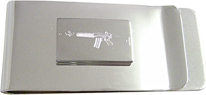 Silver Toned Etched AK47 Rifle Tie Tack