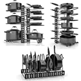 SKATCO Pots and Pans Organizer – Metal Pan Organizer Rack – Pantry & Kitchen Cabinet Organizer – Heavy Duty Lids, Dishes, Pot and Pan Organizer – Horizontal & Vertical Pot Rack with 3 Use Methods