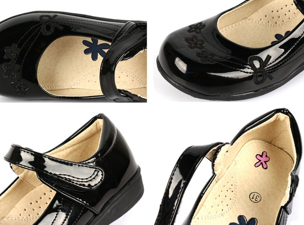 DADAWEN Girl's Strap School Uniform Dress Shoe Mary Jane Flat (Toddler/Little Kid/Big Kid) Black/Flower US Size 13 M Little Kid by DADAWEN (Image #6)
