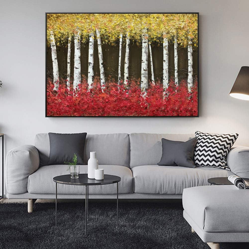 EPSMK - Impresión sobre lienzo diseño de árboles abstractos cuadros al óleo colores claros paisajes impresiones modernas imágenes decorativas decoración de pared sin marco