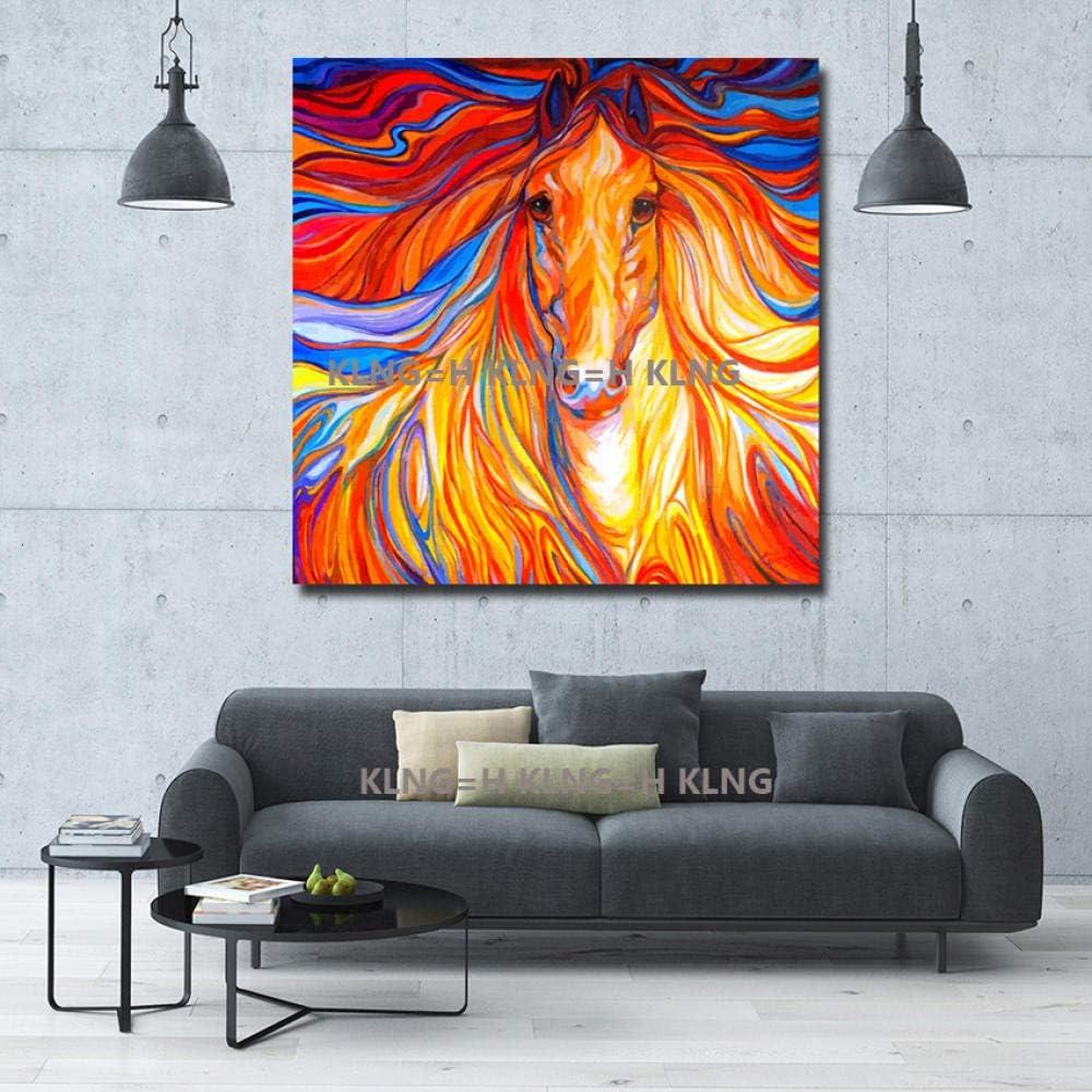 mmzki Cuadro en Lienzo Cuadros Abstractos Modernos Pintados a Mano Imágenes de Arte Caballo Hermoso en Lienzo Pinturas al óleo de Animales para la decoración del hogar-70x70CM_KingH1