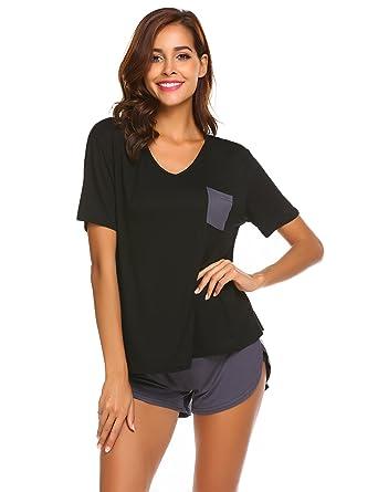 Ekouaer Womens Pajama Set Short Sleeve PJ Nightgown Sleepwear,Black,Small