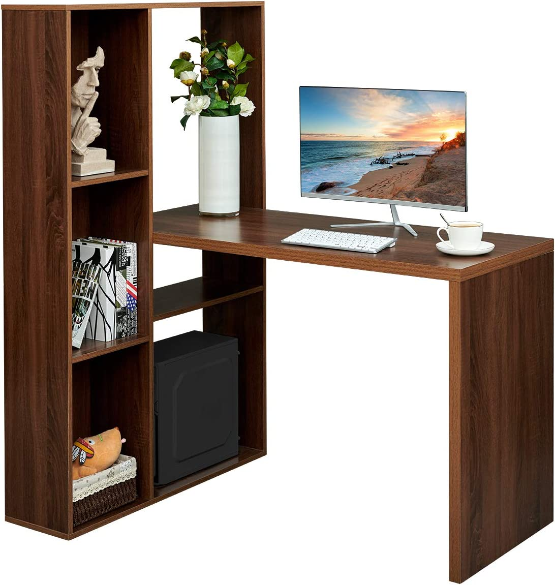 Computer Corner Desk Home Office Workstation with Hutches L-Shaped Writing Study Desk with Shelves, Walnut