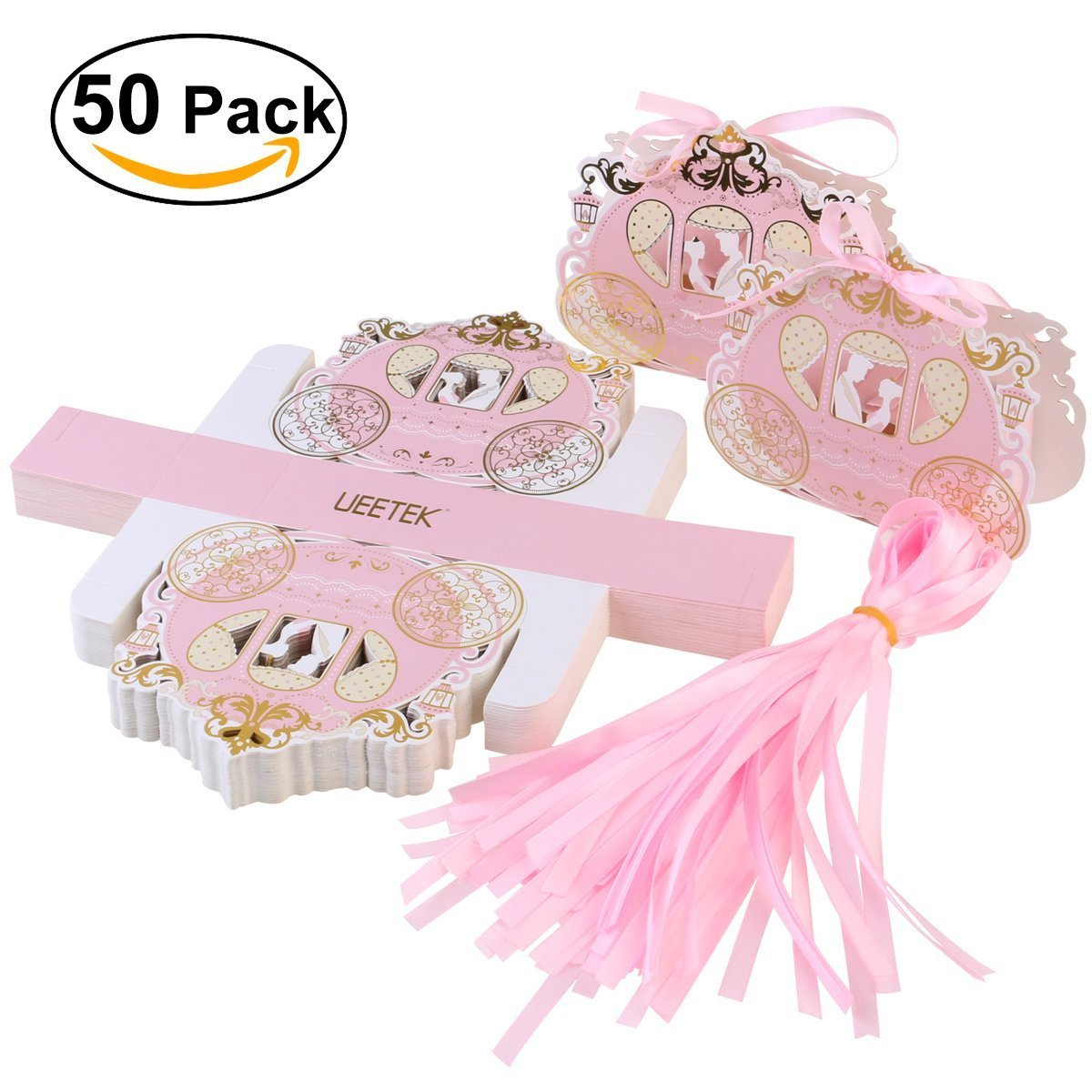 Amazon.com: UEETEK 50pcs Carriage Design Candy Boxes Sweets ...