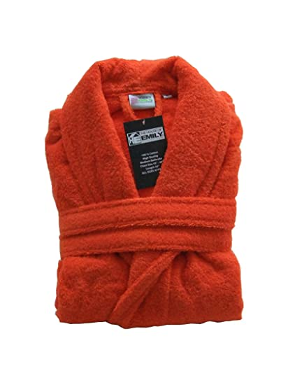 Orange 100% Cotton Terry Towelling Bathrobe + Matching Belt - MEDIUM  Amazon .co.uk  Kitchen   Home a5ddeffde