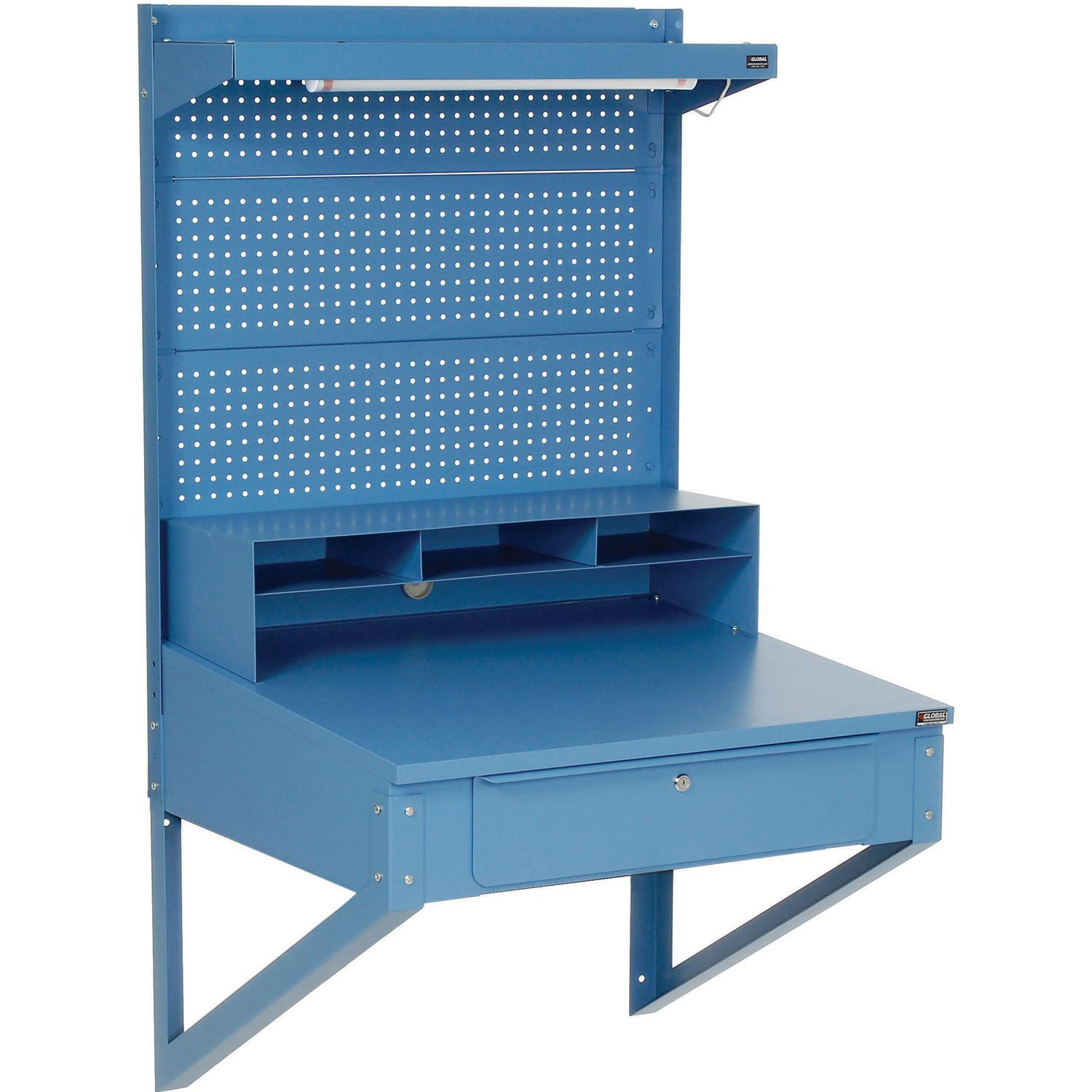 Shop Desk Wall Mount with Pegboard Riser, 34-1/2''W x 30''D x 61''H, Blue