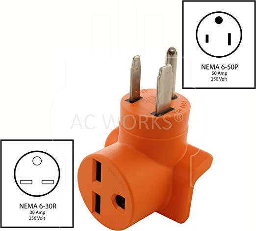 AC WORKS 6-50P 50A Welder Plug to 6-30R 3-Prong 30 Amp 250 Volt HVAC  Connection Adapter (Compact) - - Amazon.comAmazon.com