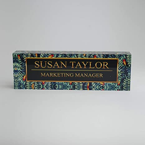 Amazon Com Desk Name Plate Personalized Name Title Tropical