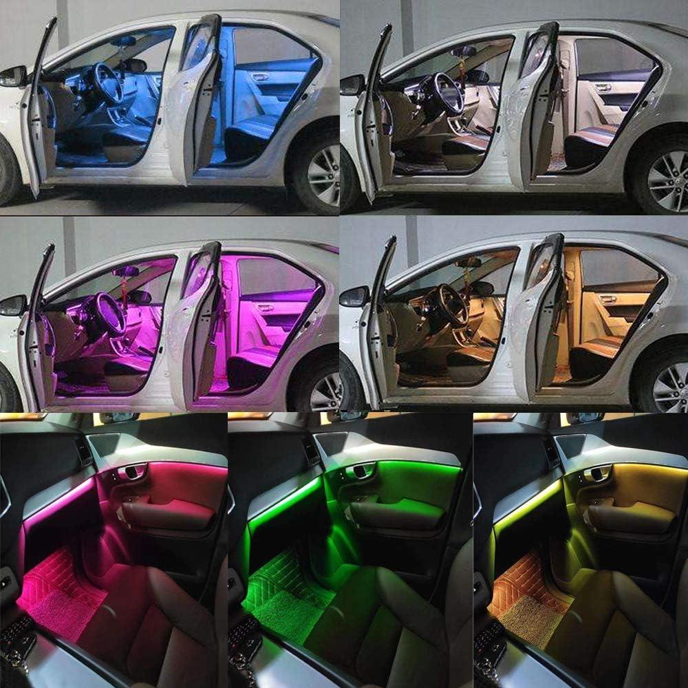 CULMKARI 4 pcs 36 LED Car Strip Light DC 12V Multicolor Car Interior Light with Charger for Jeep SUV Trucks