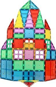 Magnet Build Magnet Tile Building Blocks Extra Strong Magnets & Super Durable 3D Tiles, Educational, Creative, Assorted Shapes & Vibrant Bright Colors (Set of 60)