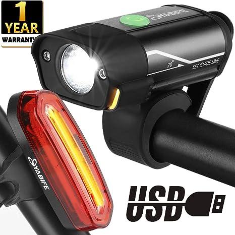 Yabife Luces Bicicleta Delantera y Trasera, Luz Bici LED Alta Potencia, USB Recargable, Impermeables, para Carretera y Montaña: Amazon.es: Deportes y aire libre