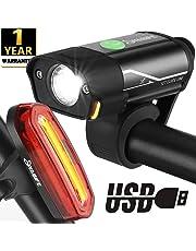 Yabife USB Rechargeable Bike Light Set, 350 Lumens Bicycle Headlight + 120 Lumens Tail Light, Waterproof Front & Rear Cycle Lights for Cycling, Mountain Bike, Men, Women, Kids