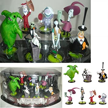 Amazon.com: DISNEY NIGHTMARE BEFORE CHRISTMAS CAKE TOPPERS 7 Piece ...