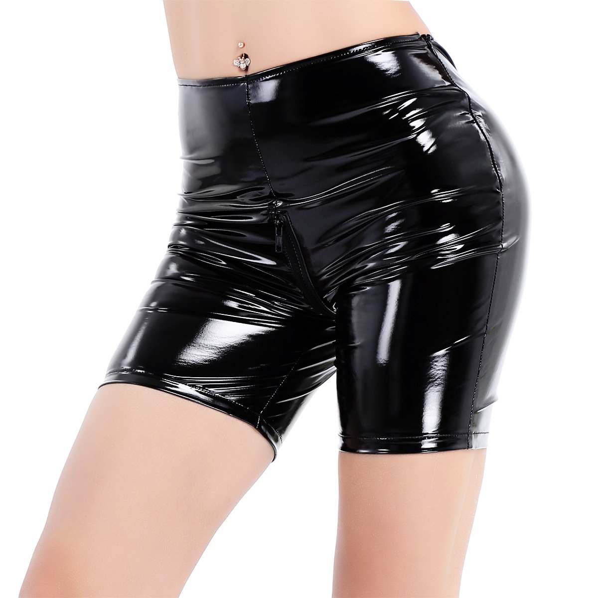 MSemis Women's Wetlook Zipper Crotch PVC Leather Tight Pants Boxer Shorts Black Medium (Waistline 27.0'',Hip 32.0'')