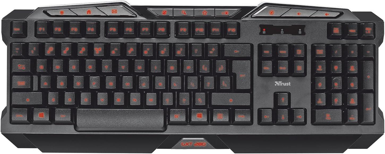 Trust GTX 280 - Teclado para Gaming (USB, iluminación LED), Negro -Teclado QWERTY Inglés