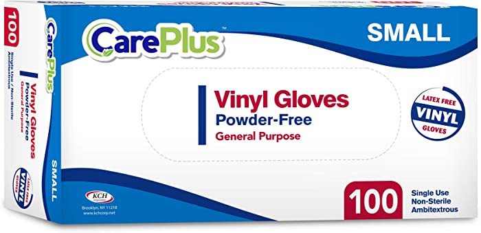 Care Plus [100 Count Disposable Plastic Vinyl Clear Small Size Gloves, Allergy, Latex and Powder Free, Great for Home Kitchen Or Office Cleaning, Cooking, 1 Box