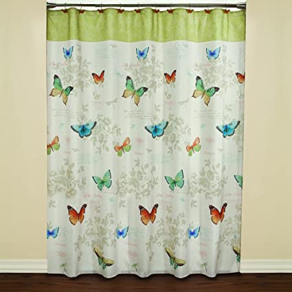 Saturday Knight Butterfly Bliss Fabric Shower Curtain Multicolor