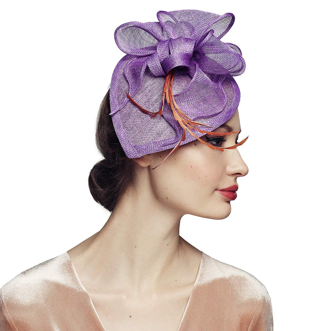 Sinamay Fascinator Headband Wedding Church Party Floral Hats for Women Lavender by HatRoom