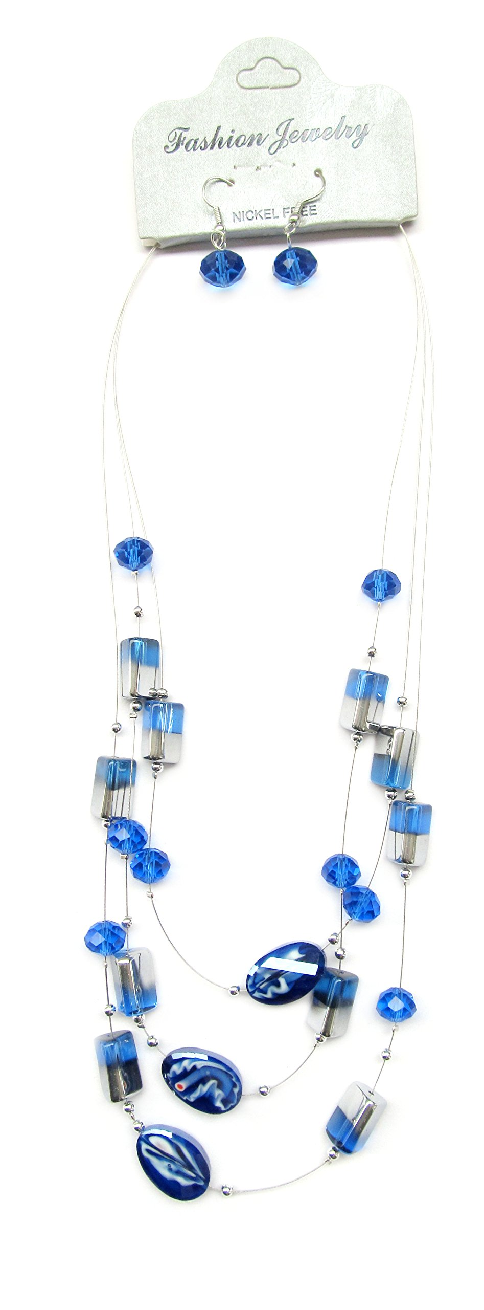Linpeng Necklace Earrings Set/Blue & Silver Glass Beads / 3 Strands Layered Necklace Length Around 21