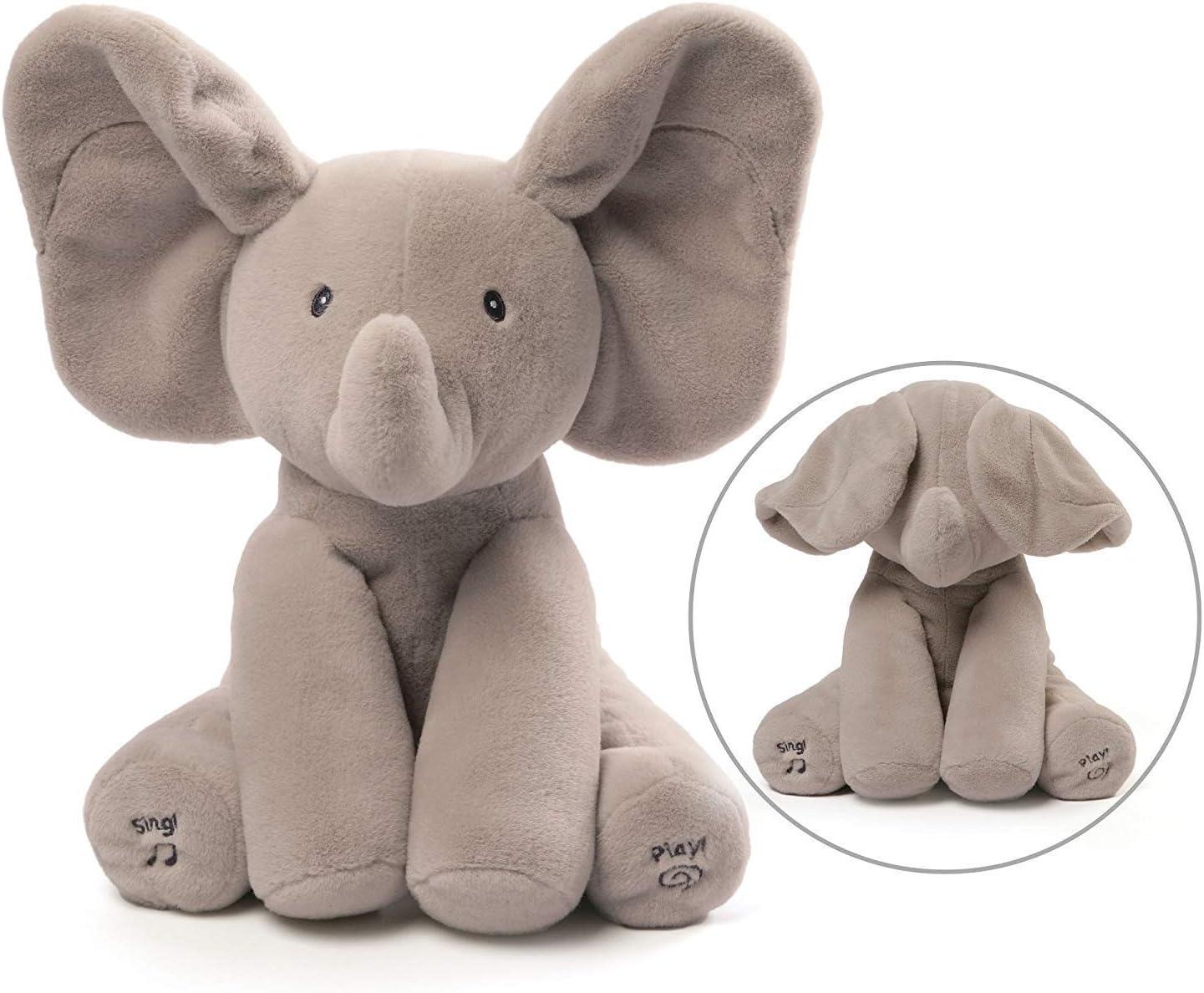 KINGEE-T Elefante de Peluche de Juguete Canciones de Canto Música Animada Orejas de Elefante Flappy Bebé de Peluche para Niños Muñeca de Regalo