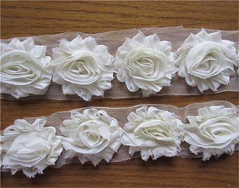3 Yards 3D Chiffon Rose Flower Lace Trim Wedding Embellishment Applique Pink