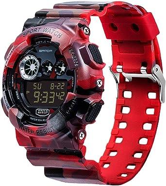 Sanda - Reloj de pulsera deportivo digital para hombre, resistente al agua, con pantalla LCD, color rojo: Amazon.es: Relojes