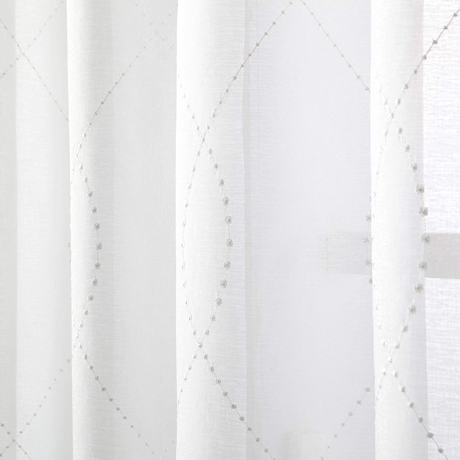 VISIONTEX Sheer White Curtains Embroidered with White Dots Pocket for livingroom Set of 2 Panles 54 x 84 inch