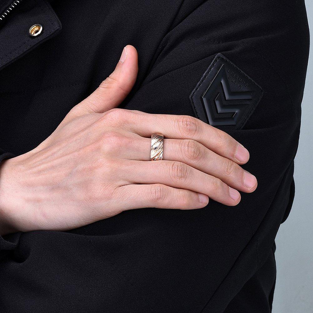 Three Keys Jewelry 8mm Silver Rose Gold Damascus Steel Mens Wedding ...