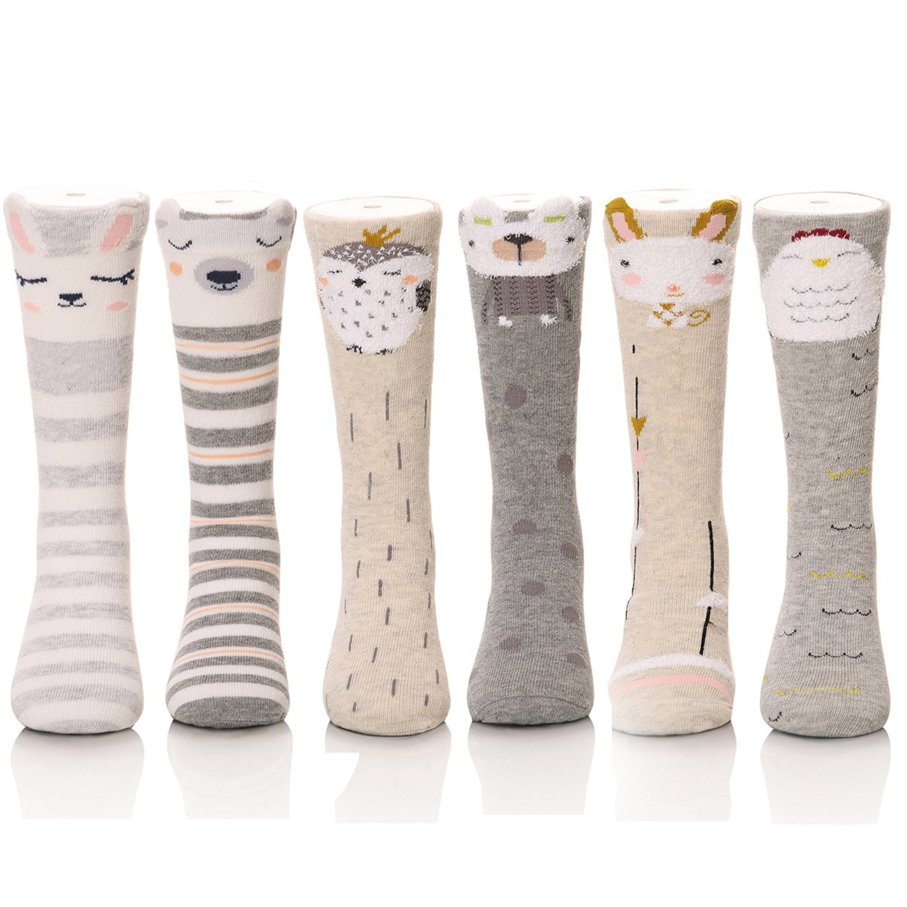 6Pack Girls Over Knee High Socks Cotton Tights Leg Warmer Stockings for 1-10Y cattam0102