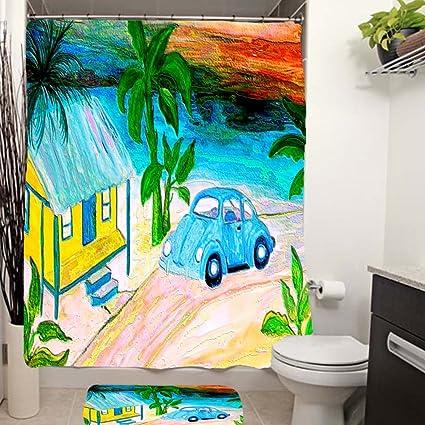 Amazon Blue Vw Bug Beach House Shower Curtain Home Kitchen