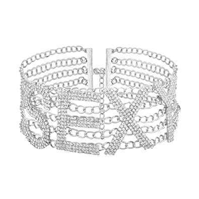 dd6cd1a437db2 ShiningLove Women Luxury Specific Sexy Letter Rhinestone Inlaid Choker  Alloy Wide Necklace