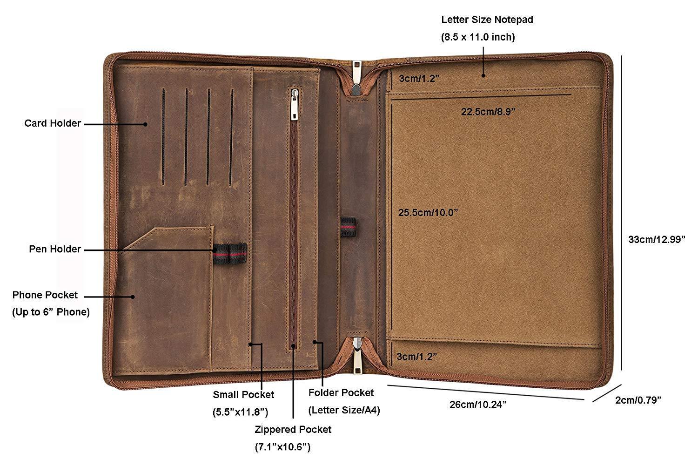 Color marr/ón Folio-34 Carpeta para conferencias Cohokori Piel sint/ética, tama/ño A4, con asa, Funda para iPad Pro 10,5 cm Custom
