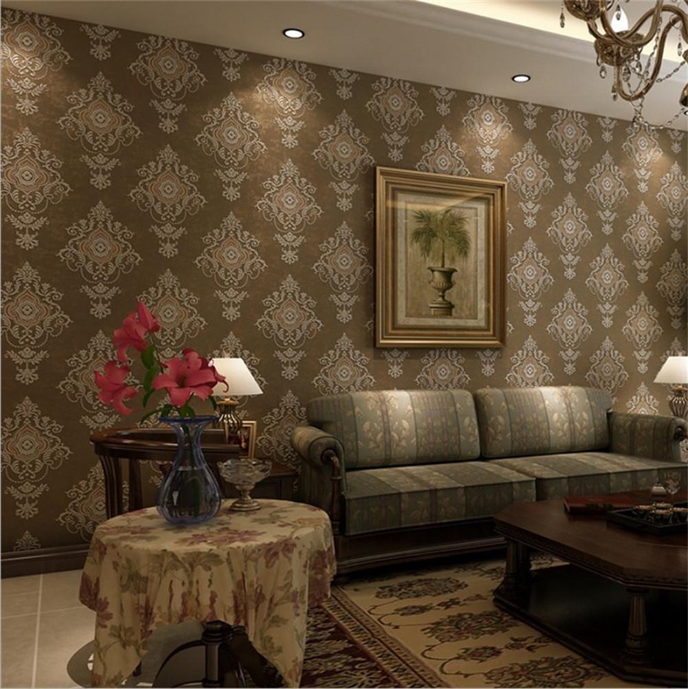 Wallpaper non-woven modern simple texture 3D solid color waterproof wallpaper decoration bedroom TV wall living room wallpaper -53 cm (W) 10 m(L), bronze